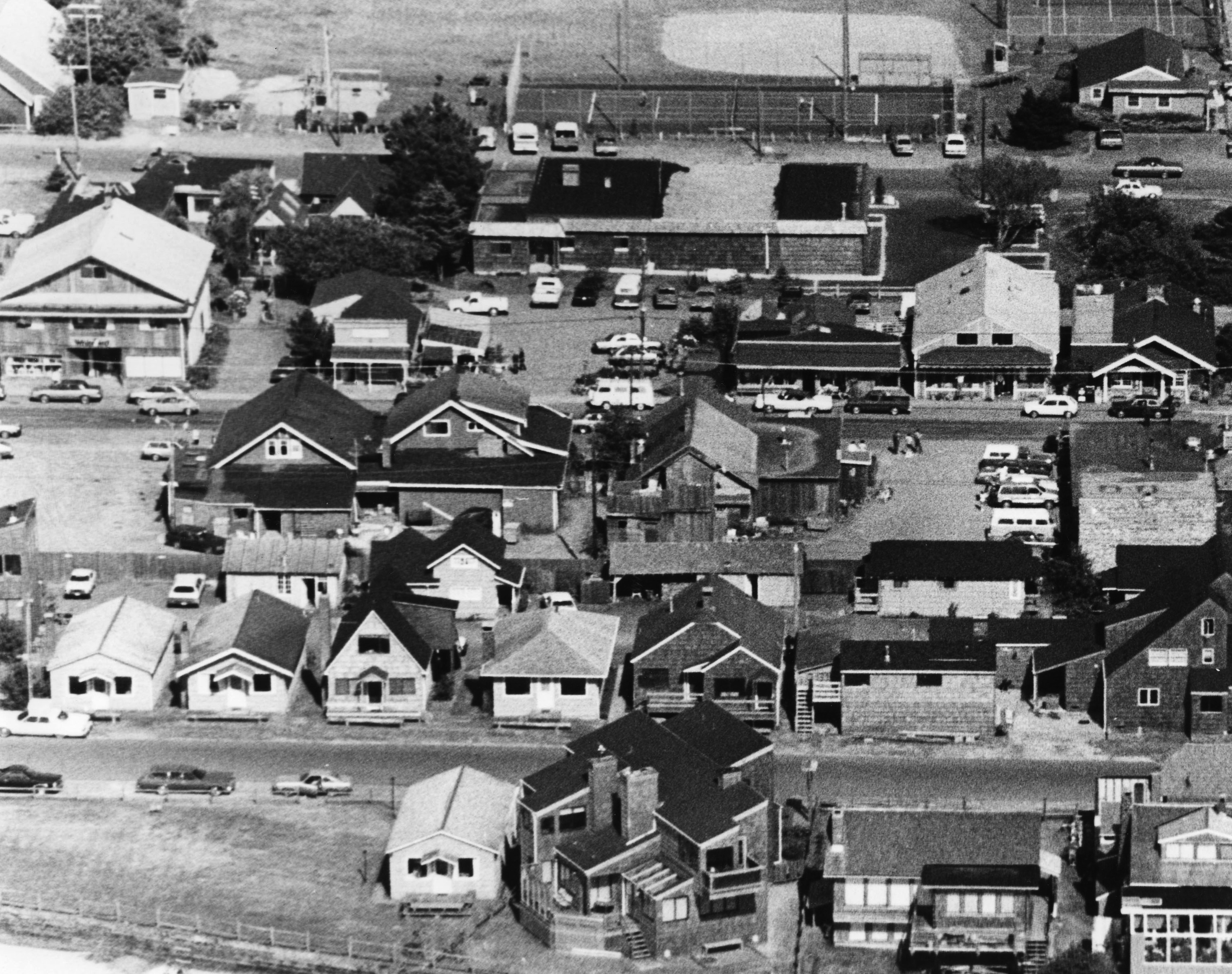 Aerial photo of downtown Cannon Beach, 1970.