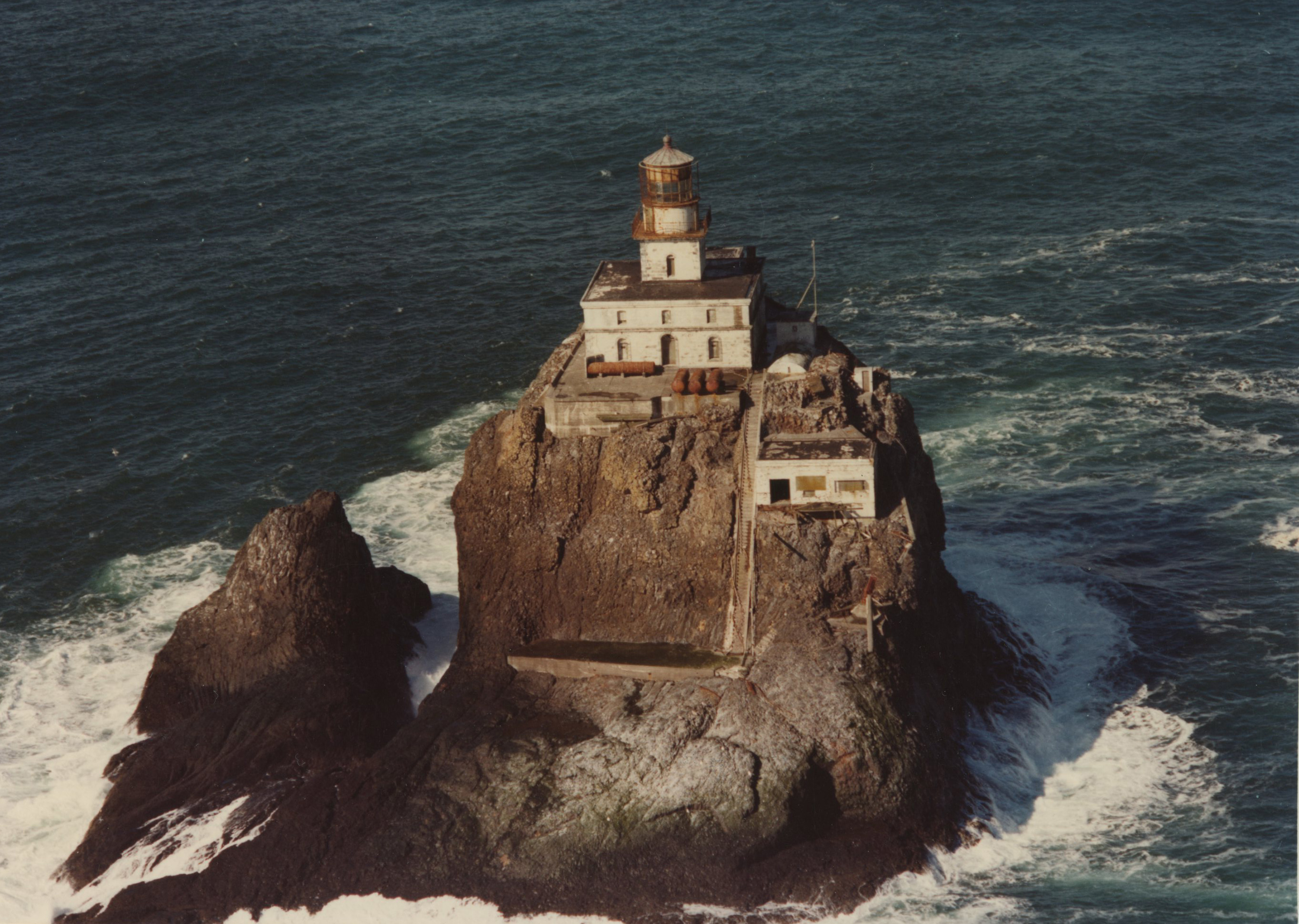 A sky view of the Tillamook Rock Lighthouse.  Image was taken after she was decommissioned.