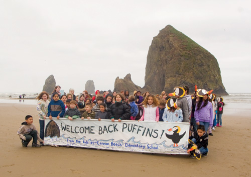 Cannon Beach Elementary Students Welcome the Tufted Puffin Back to Cannon Beach - Photo by Gary Hayes