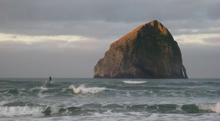 The basalt rock at Pacific City, Oregon.