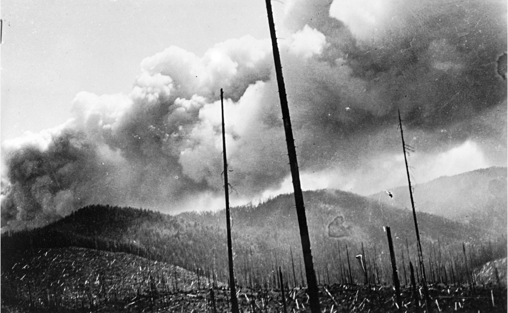 "Taken August 25, 1933 as the Tillamook Burn fire ""blows up""  The smoke column rose eight miles high and was seen throughout wester Oregon and Washington.  Oregon Department of Forestry"